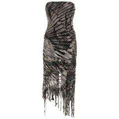 Roberto Cavalli shredded silk corseted evening dress, fw 2001