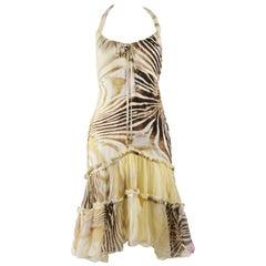 Roberto Cavalli Silk Animal Print Chiffon Dress