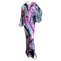 Roberto Cavalli Silk Butterfly Wing Pattern Caftan