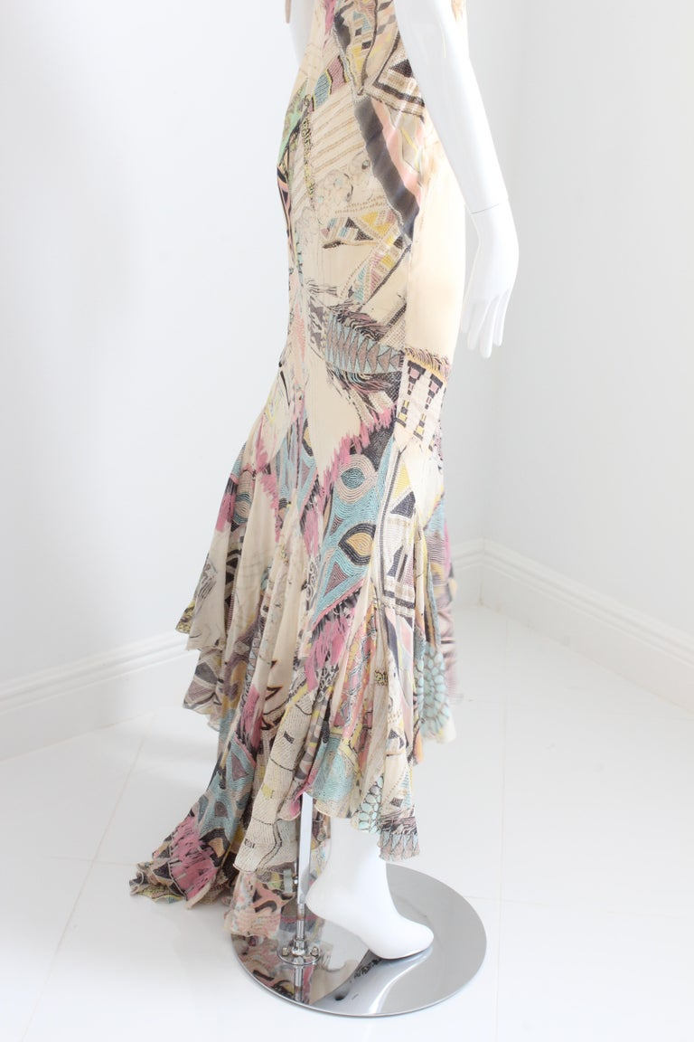 Roberto Cavalli Silk Chiffon Halter Dress Hi Lo Ruffle Mermaid Hem M  For Sale 5