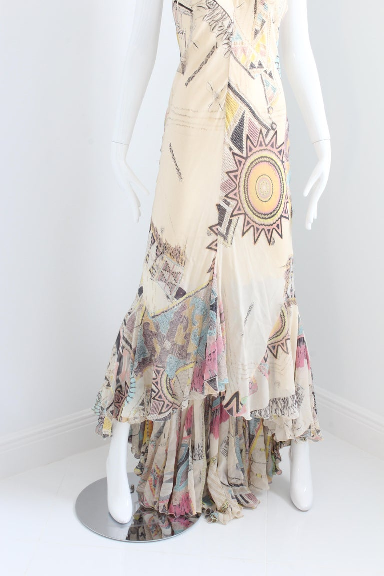 Roberto Cavalli Silk Chiffon Halter Dress Hi Lo Ruffle Mermaid Hem M  For Sale 6