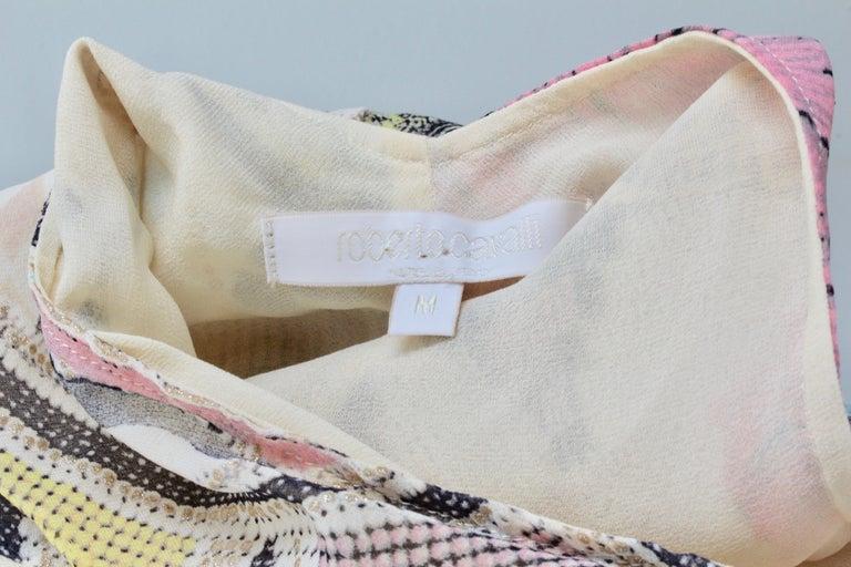 Roberto Cavalli Silk Chiffon Halter Dress Hi Lo Ruffle Mermaid Hem M  For Sale 7