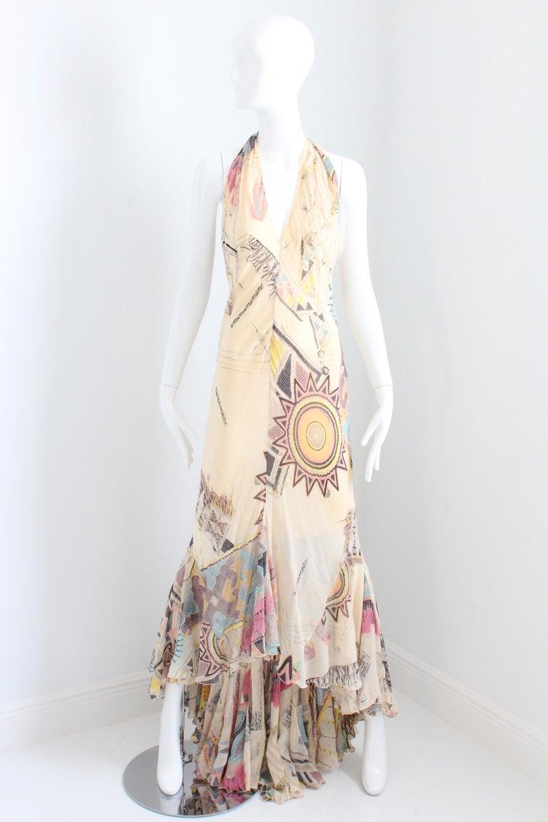 Beige Roberto Cavalli Silk Chiffon Halter Dress Hi Lo Ruffle Mermaid Hem M  For Sale