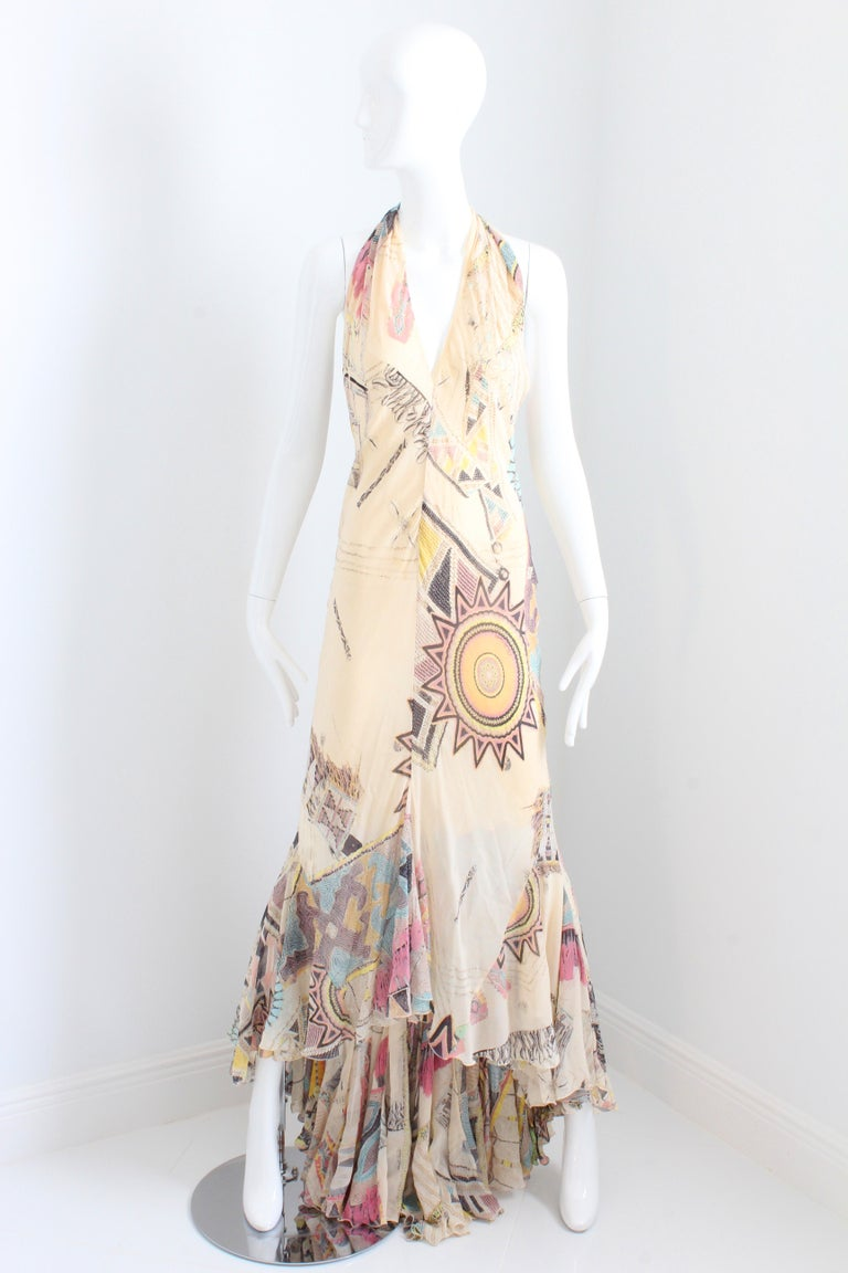 319fca00dd Beige Roberto Cavalli Silk Chiffon Halter Dress Hi Lo Ruffle Mermaid Hem M  For Sale