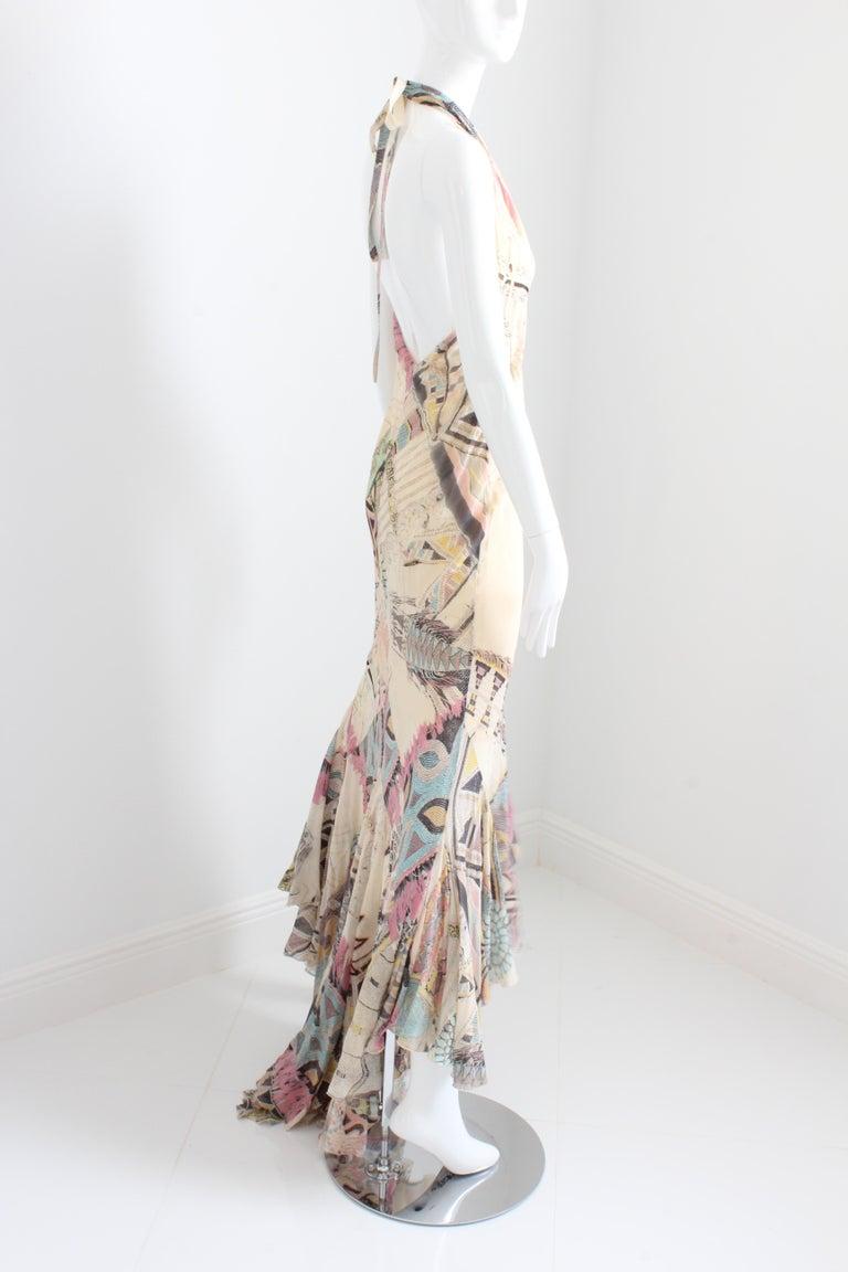 Roberto Cavalli Silk Chiffon Halter Dress Hi Lo Ruffle Mermaid Hem M  In Excellent Condition For Sale In Port Saint Lucie, FL