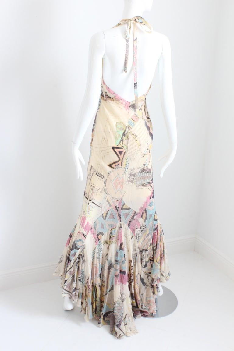 Women's Roberto Cavalli Silk Chiffon Halter Dress Hi Lo Ruffle Mermaid Hem M  For Sale