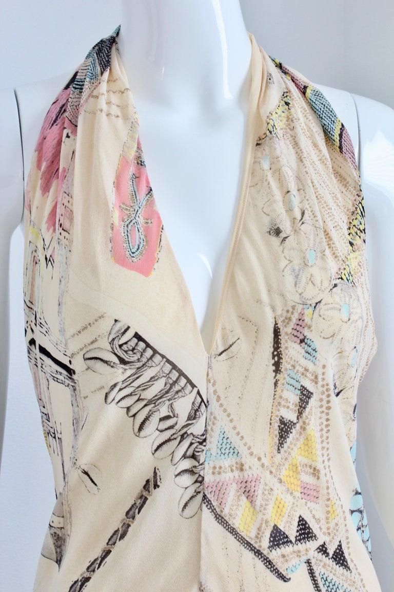 Roberto Cavalli Silk Chiffon Halter Dress Hi Lo Ruffle Mermaid Hem M  For Sale 1