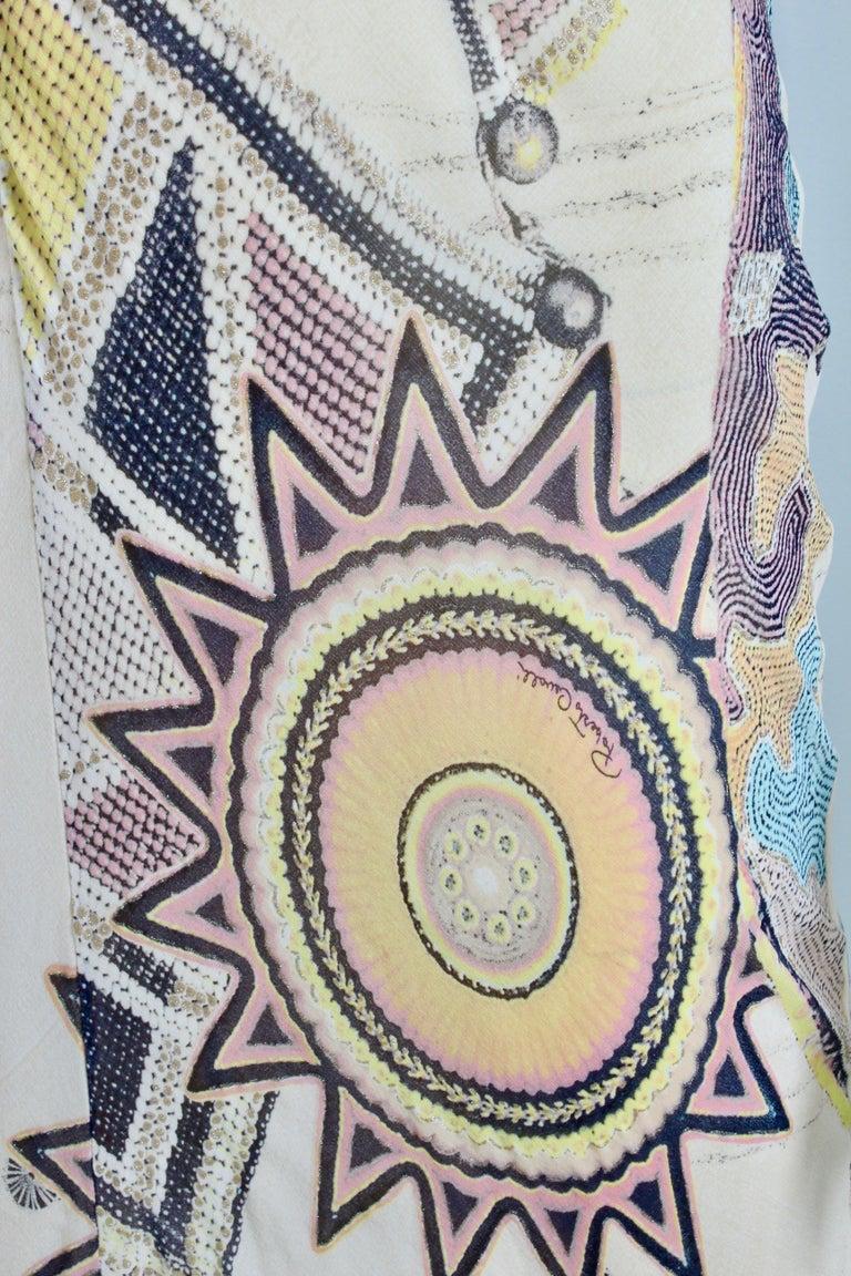 Roberto Cavalli Silk Chiffon Halter Dress Hi Lo Ruffle Mermaid Hem M  For Sale 2
