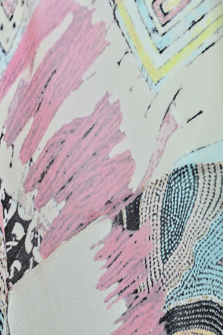 Roberto Cavalli Silk Chiffon Halter Dress Hi Lo Ruffle Mermaid Hem M  For Sale 3