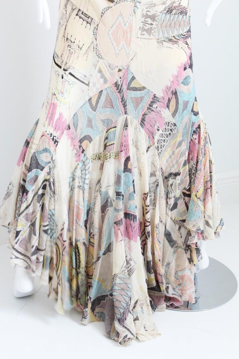 Roberto Cavalli Silk Chiffon Halter Dress Hi Lo Ruffle Mermaid Hem M  For Sale 4