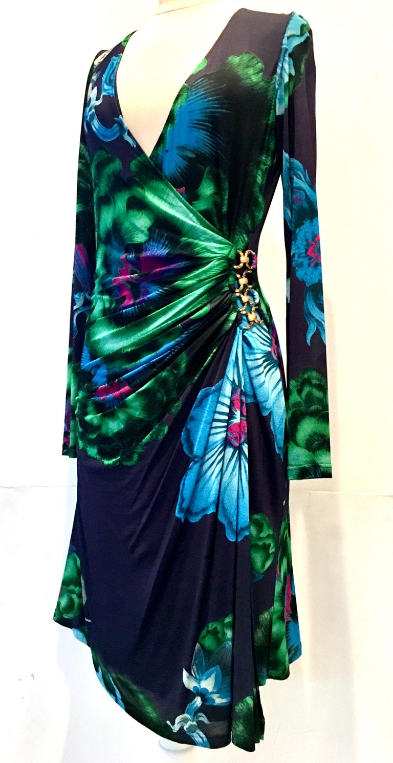 2002 Silk Jersey Wrap Gilt Brass Dress By Roberto Cavalli. This vibrant abstract floral