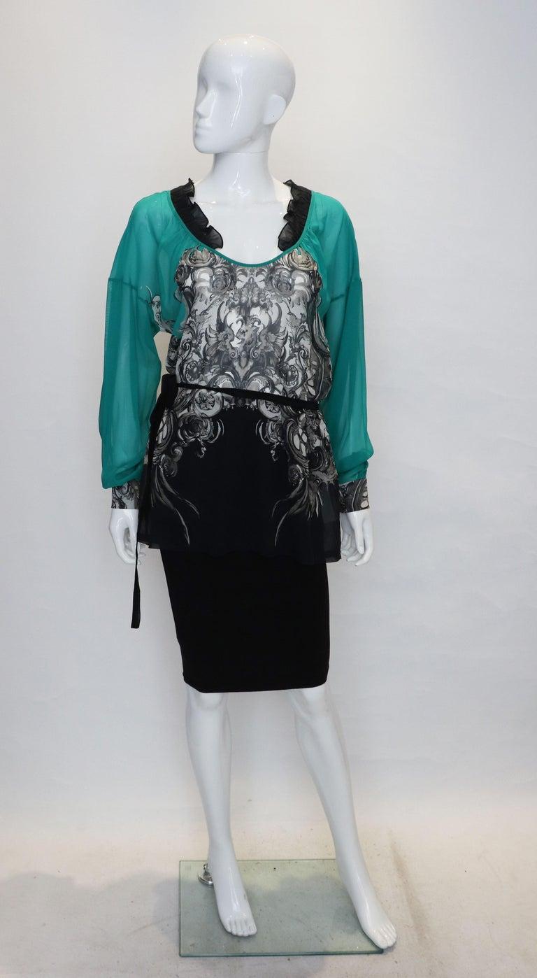 Blue Roberto Cavalli Silk Top For Sale