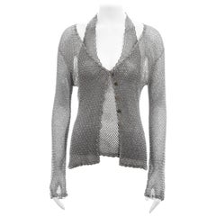 Roberto Cavalli silver beaded viscose crochet halter top and cardigan, ss 2001