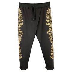 ROBERTO CAVALLI Size 38 Black & Gold Embellishment Cotton Drawstring Pants