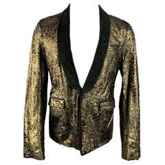 ROBERTO CAVALLI Size 42 Gold & Black Laser Pony Jacquard Leather Sport Coat