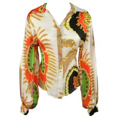 ROBERTO CAVALLI Size 6 White Red Yellow & Green Abstract Floral Silk Blouse
