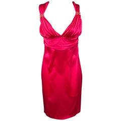 ROBERTO CAVALLI Size 8 Fuchsia Satin Silk Sheath Cocktail Dress