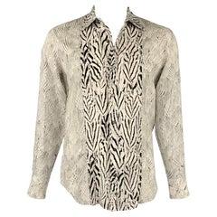 ROBERTO CAVALLI Size L White & Black Print Cotton / Silk Long Sleeve Shirt