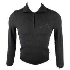 ROBERTO CAVALLI Size M Black Ribbed Wool Blend Spread Collar Pullover Sweater