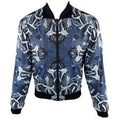 ROBERTO CAVALLI Size M Snake Print Blue Polyamide Zip Up Bomber Jacket