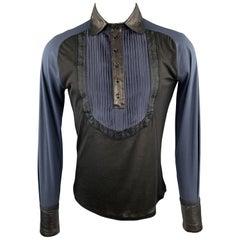 ROBERTO CAVALLI Size S Black & Navy Mixed Fabrics Buttoned Pullover