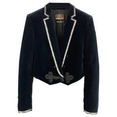 ROBERTO CAVALLI Size XS Navy Cotton Velvet Beaded Lapel Tails Jacket