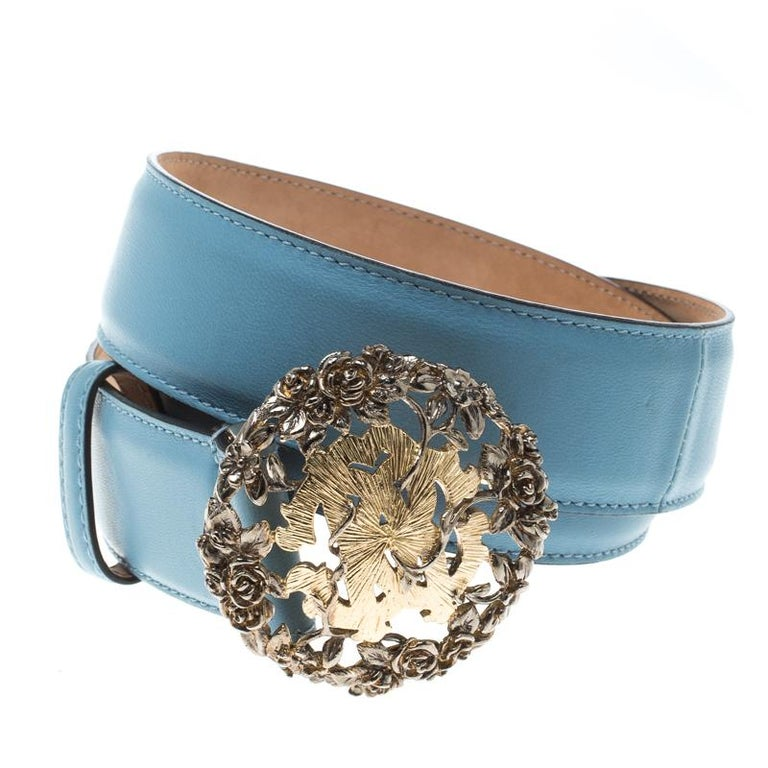 Everybody wants to own a belt as gorgeous as this one from Roberto Cavalli! It has been crafted from sky blue leather in Italy and decorated with a gold-tone buckle and a single loop.  Includes: Original Dustbag  The Luxury Closet is an elite luxury