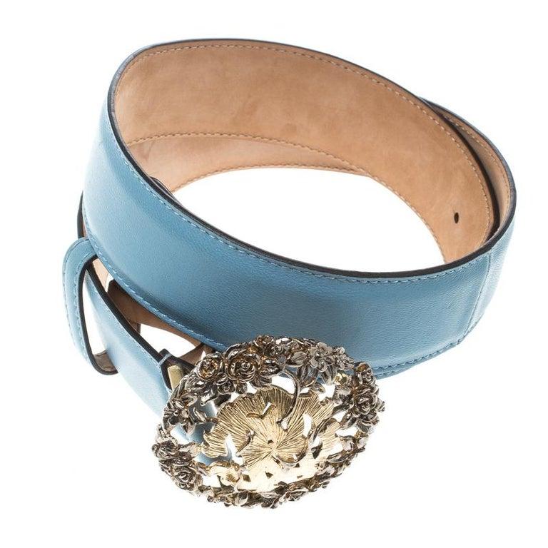 Gray Roberto Cavalli Sky Blue Leather Logo Belt 75cm For Sale