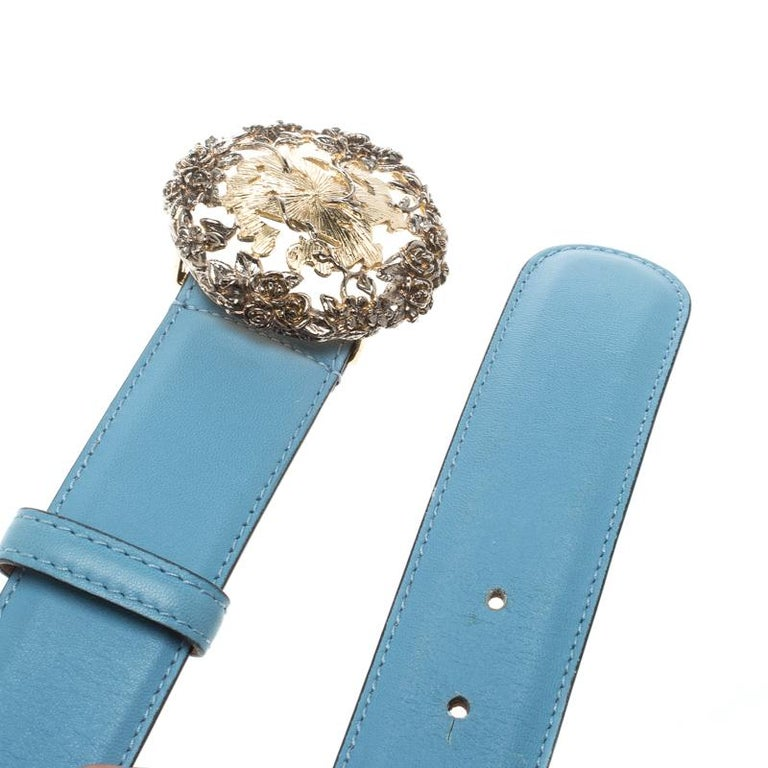 Roberto Cavalli Sky Blue Leather Logo Belt 75cm In Good Condition For Sale In Dubai, AE