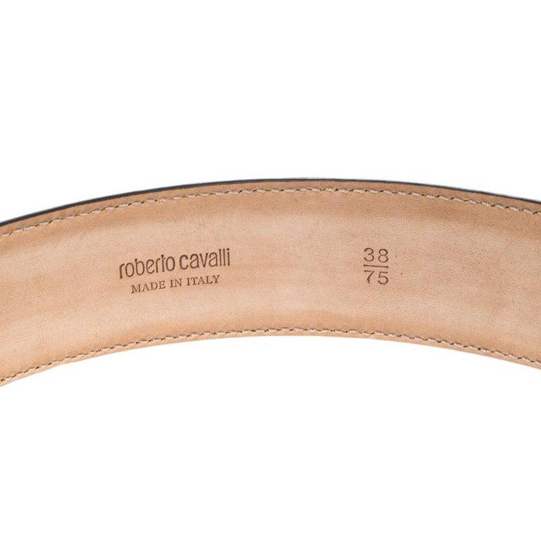 Women's Roberto Cavalli Sky Blue Leather Logo Belt 75cm For Sale