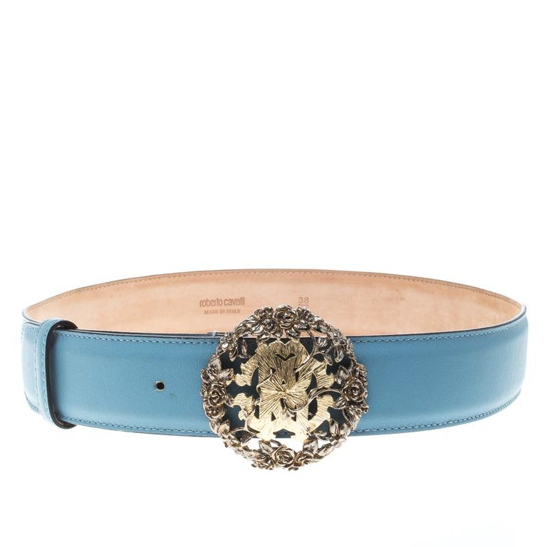 Roberto Cavalli Sky Blue Leather Logo Belt 75cm For Sale