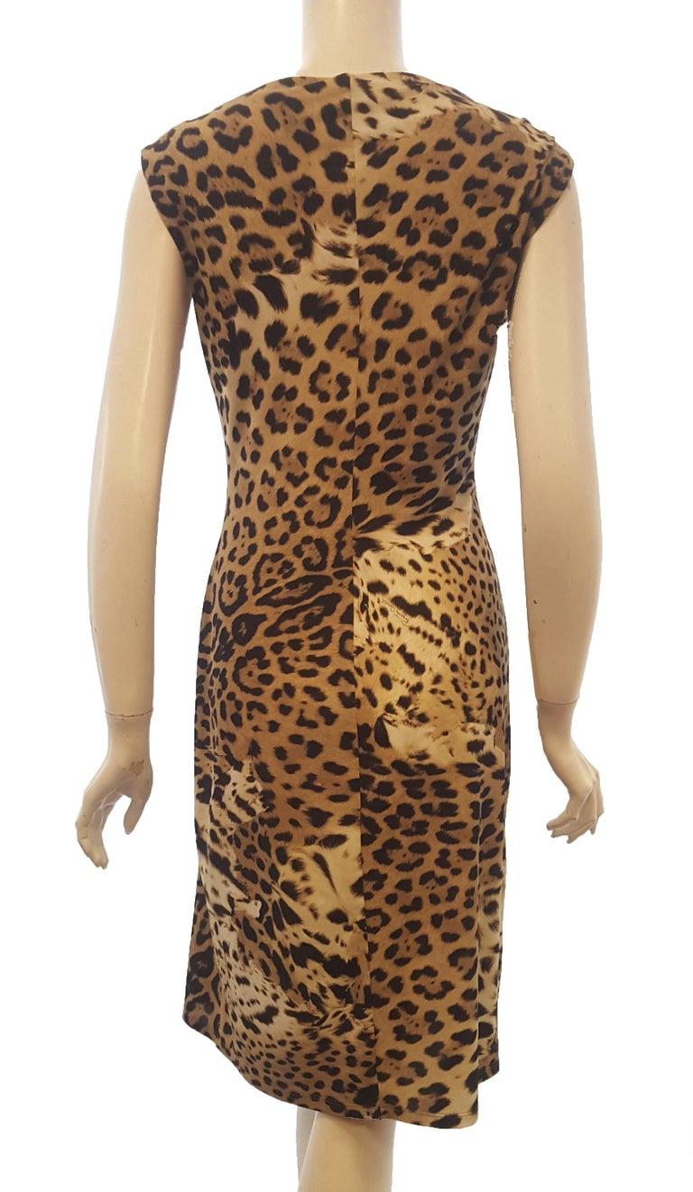 Brown Roberto Cavalli Sleeveless Black & Beige Leopard Print Dress For Sale