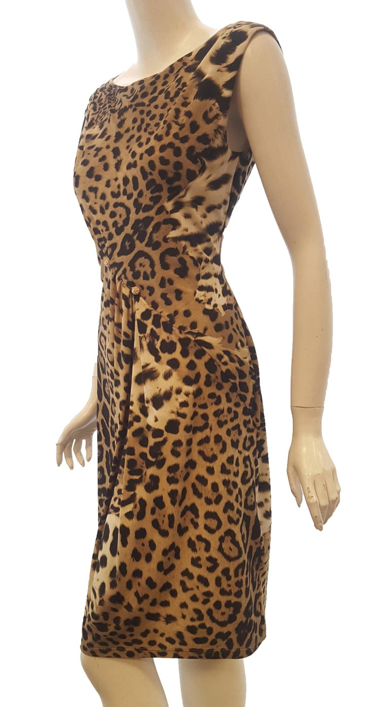 Roberto Cavalli Sleeveless Black & Beige Leopard Print Dress In Excellent Condition For Sale In Palm Beach, FL