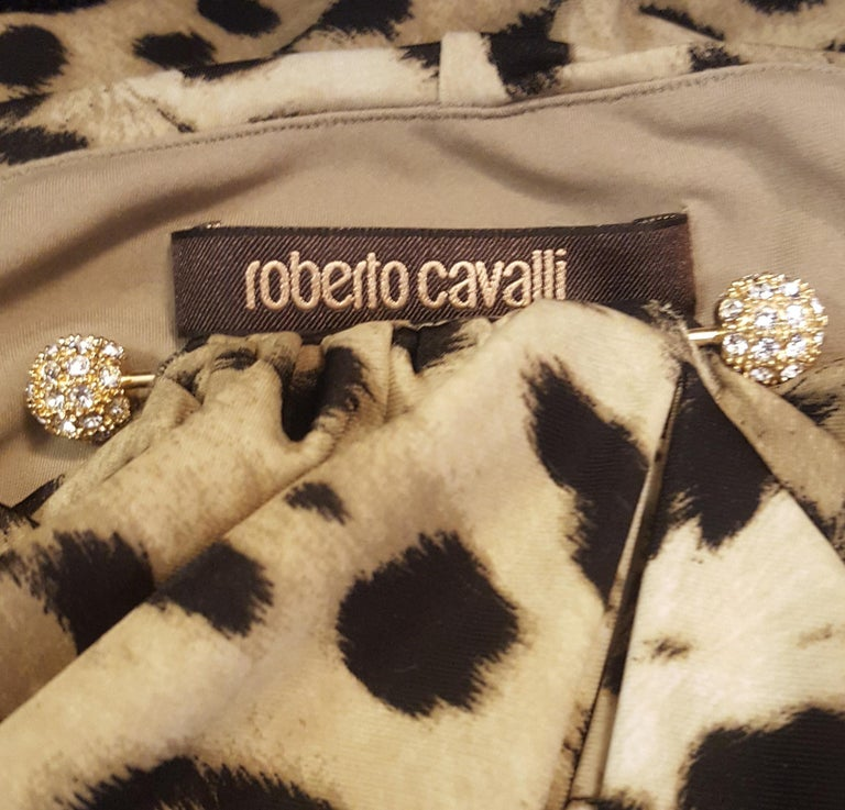 Roberto Cavalli Sleeveless Black & Beige Leopard Print Dress For Sale 1