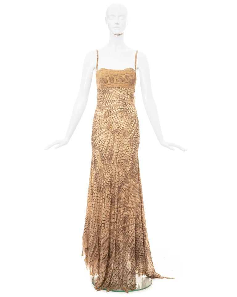 Roberto Cavalli feather printed silk evening dress with snakeskin bust.   Spring-Summer 1999