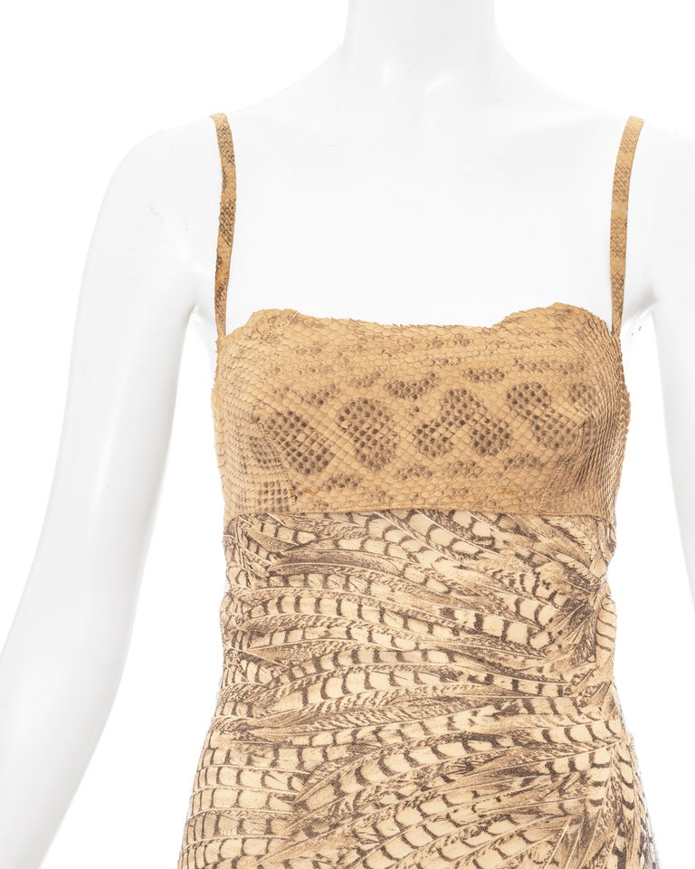 Brown Roberto Cavalli snakeskin and silk evening dress, ss 1999 For Sale