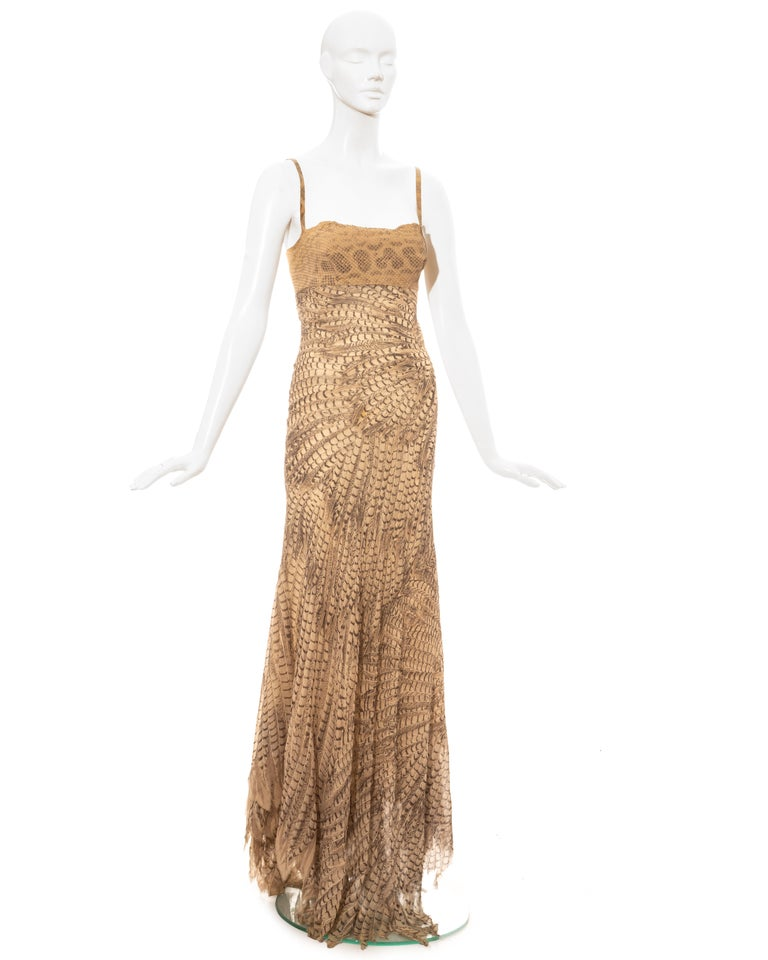 Roberto Cavalli snakeskin and silk evening dress, ss 1999 In Excellent Condition For Sale In London, GB