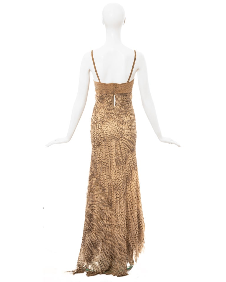 Roberto Cavalli snakeskin and silk evening dress, ss 1999 For Sale 1