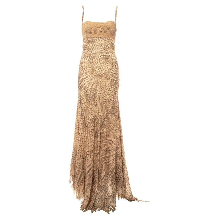 Roberto Cavalli snakeskin and silk evening dress, ss 1999 For Sale