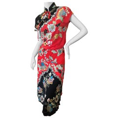 Roberto Cavalli Spring 2003 Silk Cheongsam Style Floral Dress Set w Skirt & Top