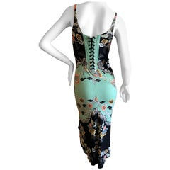Roberto Cavalli Spring 2003 Silk Chinoiserie Style Floral Dress w Corset Lace M