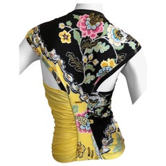Roberto Cavalli Spring 2003 Silk Chinoiserie Style Floral Top