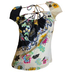 Roberto Cavalli Spring 2003 Silk Chinoiserie Style Floral Top Size Large