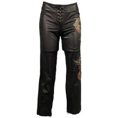 ROBERTO CAVALLI Spring 2003 Size S Black & Red Dragon Embroidered Leather Pants