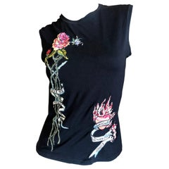 Roberto Cavalli Spring 2003 Tattoo Embroidered Cotton Tank Top