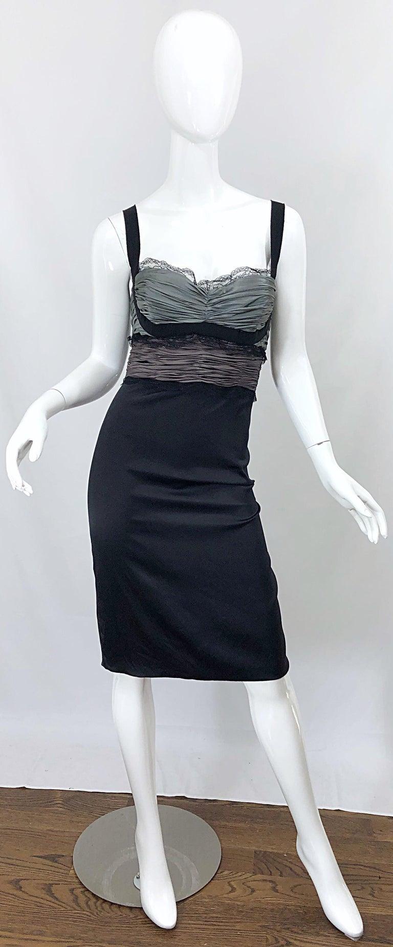 timeless design bbea5 d016e Roberto Cavalli Sz 46 / 10 Black and Grey Silk + Lace Sexy Sleeveless Dress
