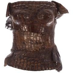 Roberto Cavalli tan crocodile corset bustier, c. 2000s