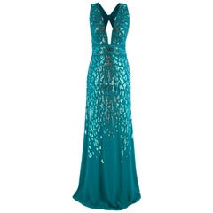 Roberto Cavalli Teal Sequin Embellished Sleeveless Gown - Size US6