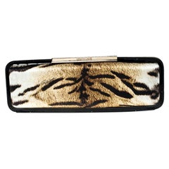 Roberto Cavalli Tiger Print Satin and Patent Leather Metal Lock Long Clutch