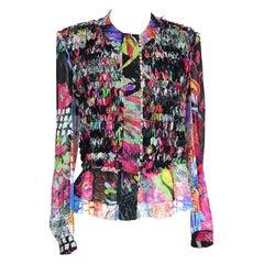 Roberto Cavalli Top Blouse Intricate Ribbon Vivid Colors 44 / 10 fits 8